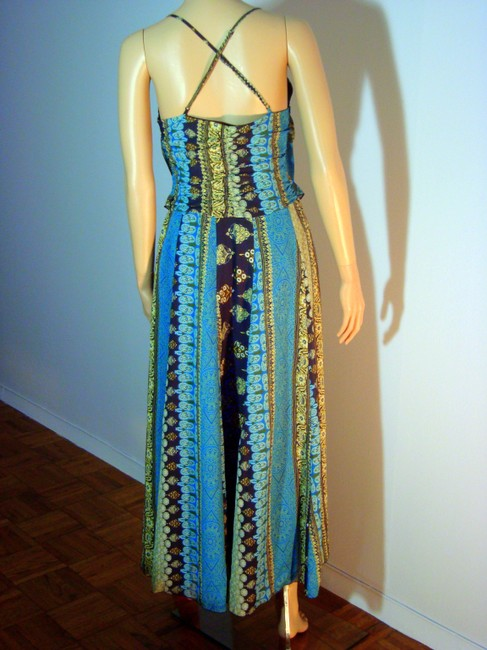 Blue and Green Multi Pattern Maxi Dress by Free People Maxi Maxi
