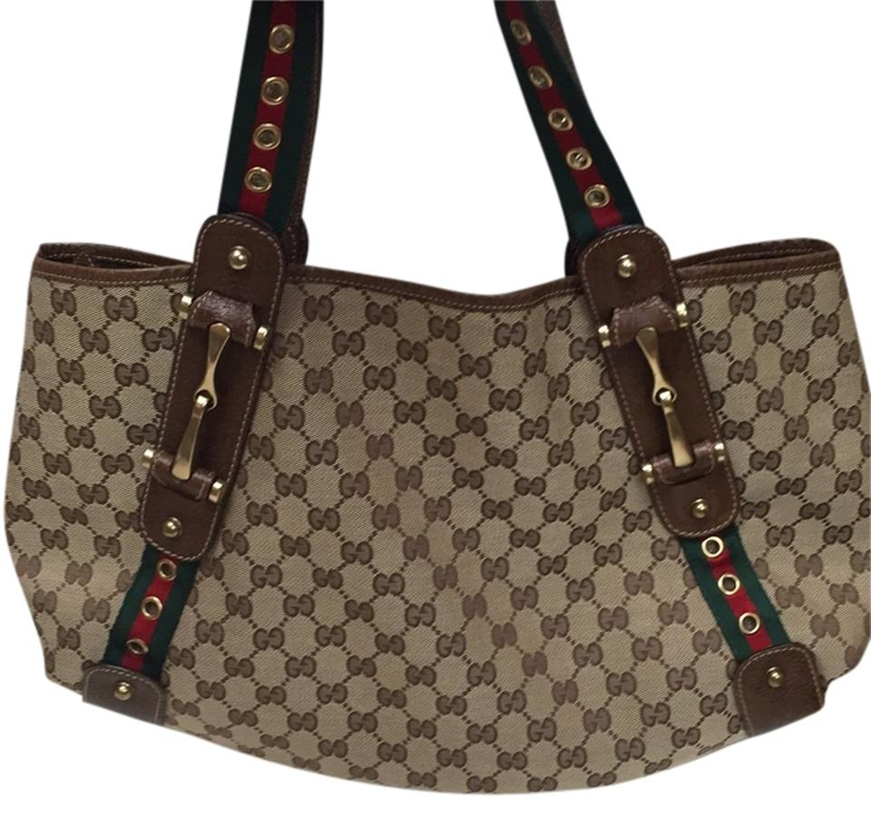 6625a04664dd Gucci Pelham Gg Monogram Tote Purse Med Brown Canvas and Leather ...