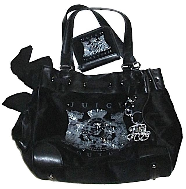 Item - Combo Set Scottie Bling Daydreamer Tote/Wallet Black/Silver Velour and Leather Trim Tote