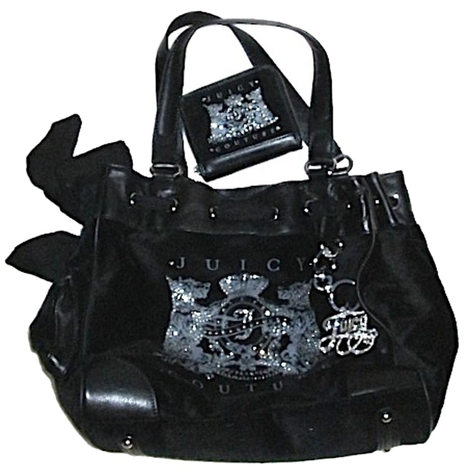 juicy couture velour versatile sparkle tote black silver 60 off tradesy. Black Bedroom Furniture Sets. Home Design Ideas