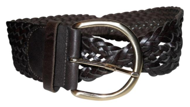 Item - Brown Wide Woven Leather Belt