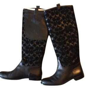 Coach Black Monogram Boots
