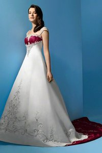Alfred Angelo Ivory/Cherry Satin 1193 Traditional Wedding Dress Size 14 (L)