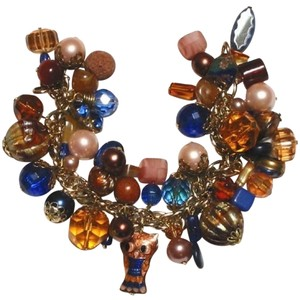 Ingemnuity OOAK Vintage Chunky Charm Bracelet Cloisonne Owl Cobalt Copper Charms Beads