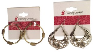 Charming Charlie Set of 2 (Gold Hoop and Silver Drop)