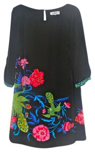 Tibi short dress Black with multi-colored floral print on Tradesy