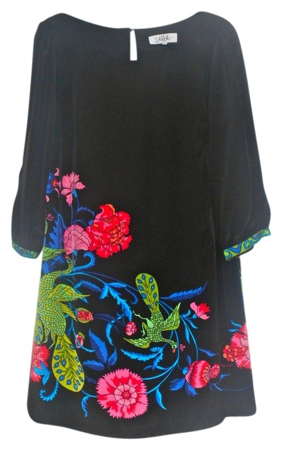 Preload https://img-static.tradesy.com/item/705950/tibi-black-with-multi-colored-floral-print-above-knee-short-casual-dress-size-12-l-0-0-650-650.jpg