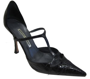 Manolo Blahnik Alligator Black Pumps