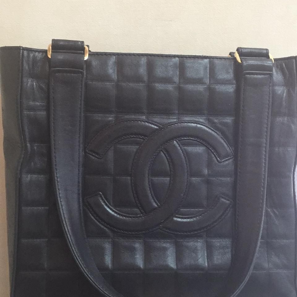 b70dec26dfac Chanel Square Quilted Black Lambskin Leather Tote - Tradesy