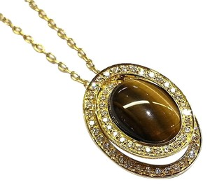 Roberto Coin Roberto Coin Diamond and Tiger Eye Necklace 18k yellow