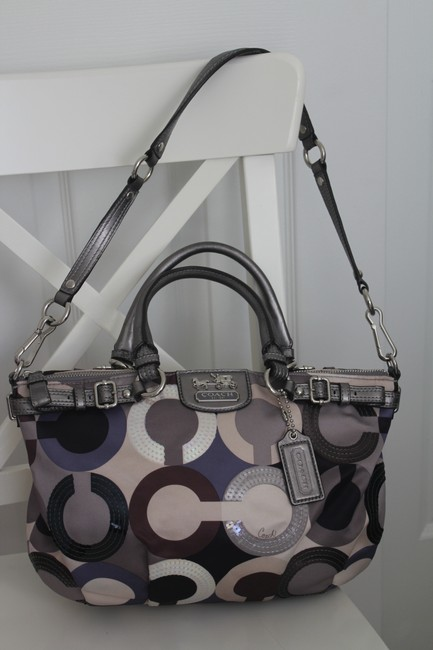 Item - Blue Silver Gray Ivory Satin Satchel