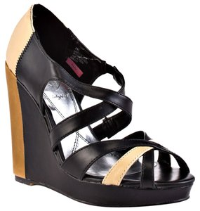 Baby Phat Color-blocking Platform Strappy Comfortable Black and Tan Wedges