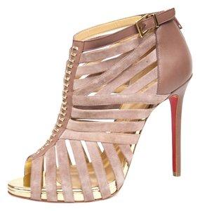 Christian Louboutin Strappy Stiletto Cage Heel Pale Pink Sandals