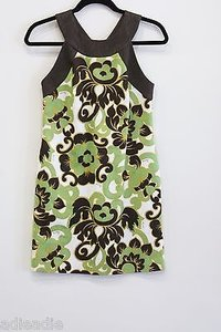 MILLY Green Brown Print 0 Dress