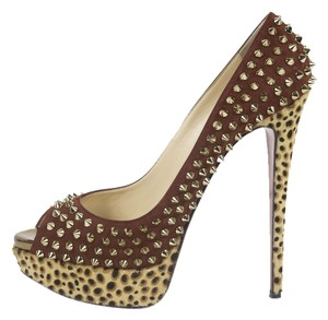 Christian Louboutin Spiked Leopard Peep Toe Red/Gold Pumps