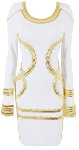 House of CB Bodycon Embroidered Gold Dress