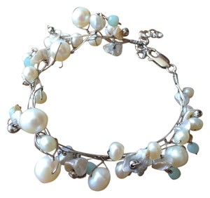 Sterling Silver Wire Bracelet with Pearls and Beads