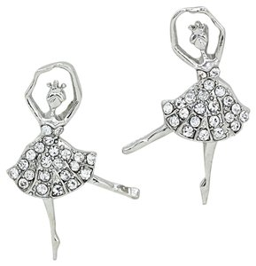 Other Cute Silver Plated Rhinestone Crystal Ballerina Earrings