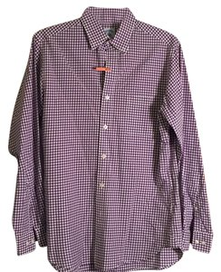 Brooks Brothers Button Down Shirt Purple/white