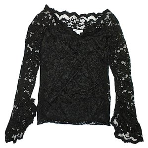 Boston Proper Lace Lace Sheer Ruffle Top Black
