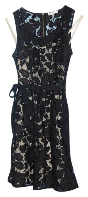 Item - Black Lace Exposed Zipper Lined Above Knee Cocktail Dress Size 8 (M)