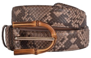 Gucci New Gucci Women's 322957 Camel Brown Python Snakeskin Bamboo Buckle Belt 34 85