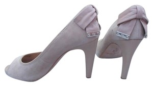 Antonio Melani Peep Toe Cream Suede and Patent Leather Pumps