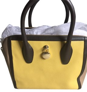 Furla Brand New Safiano Leather Satchel in beige/yellow/brown