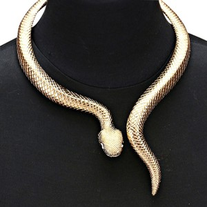 Gold Plated Serpent Snake Python Collar Necklace