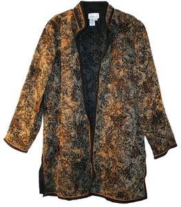 Coldwater Creek Tunic Jacket Reversible Evening Multi Brown Orange Black Floral Blazer