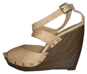 Jessica Simpson Gold Hardware Wedge Buckle Brown and Peach Wedges