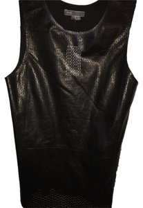 Vince Leather Shell Night Out Date Night Perforated Sexy Comfortable Top Black