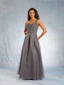 Alfred Angelo Charcoal Organza 7342 Occasion 928 6 Formal Bridesmaid Mob Dress Size 14