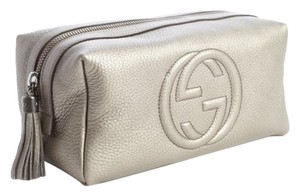 Gucci Gucci Grey Gunmetal Leather 'Soho' Large Cosmetic Pouch Makeup Bag Clutch 308637