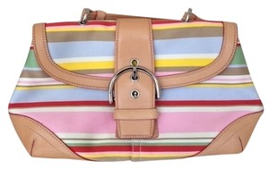 Coach Spring Striped Satchel in Pink, yellow, red, blue and green stripes