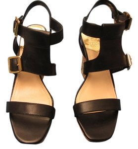 Vince Camuto Leather 2 Buckles Black Soft Calf Wedges