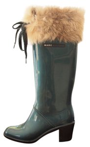 Marc Jacobs Galoshes Wellington Faux Fur teal Boots