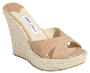 Jimmy Choo Espadrille Platform Snakeskin Brown Wedges