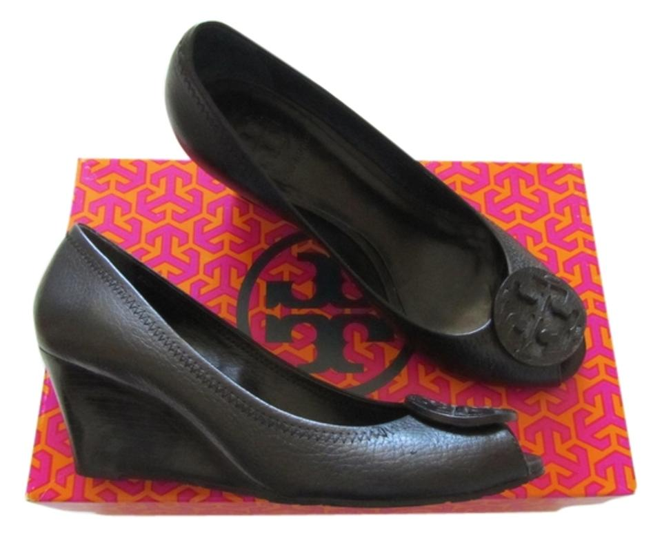 00600c0a325 Tory Burch Black Sally 2 Tumbled Leather Pumps Wedges Size US 7.5 ...