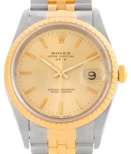Rolex Rolex Date Mens Steel And 18k Yellow Gold Watch 15223