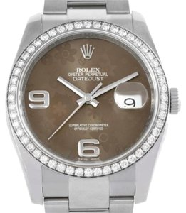 Rolex Rolex Datejust Steel White Gold Diamond Bronze Floral Dial Watch 116234