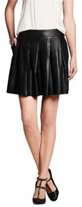 Banana Republic Leather Pleated A-line Mini Skirt black