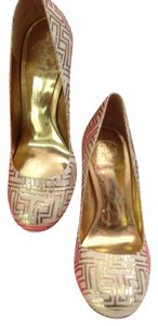 Tory Burch Gold and Cream Pumps