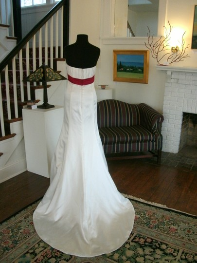 Alfred Angelo White / Claret Red Satin Bridal Gown Modern Wedding Dress Size 10 (M)