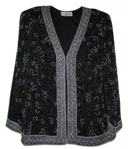 Laurence Kazar Front-closing Evening Jacket Style Top Black