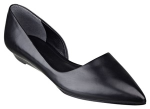 Sigerson Morrison Leather D'orsay Pointed Toe Black Flats