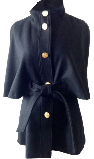 Item - Black/Gold Buttons Belted with Upgraded Poncho/Cape Size 8 (M)