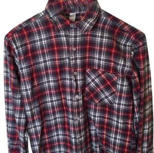 American Apparel Button Down Shirt Multi red, navy