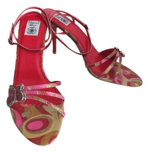 Summer Rio Butterfly Heels Size 8.5 Pink, Red, Gold, Multicolored Sandals