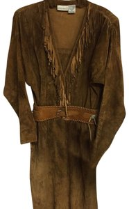 Brown Maxi Dress by Pia Rucci Leather Fringe Hem